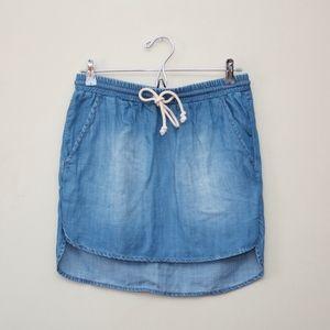 Anthropologie Chambray Denim Drawstring Skirt